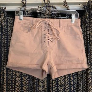 Pink Lace up Short